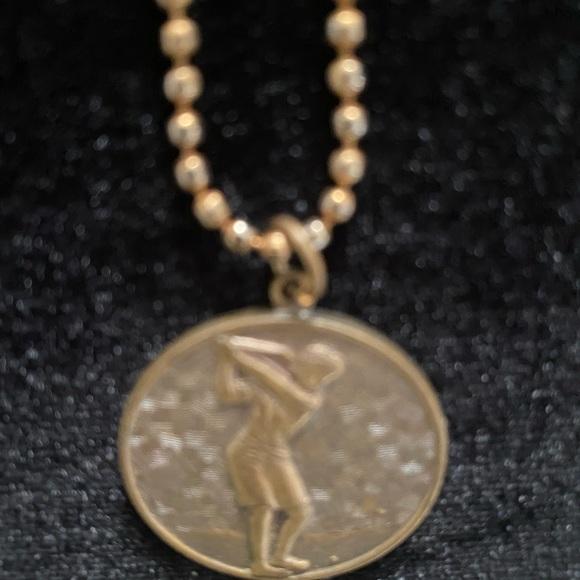 Jewelry - Vintage Lady Golfer Pendant Necklace